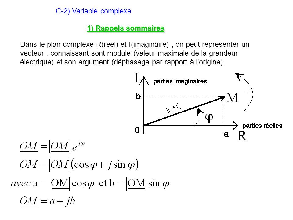 C-2) Variable complexe 1) Rappels sommaires.