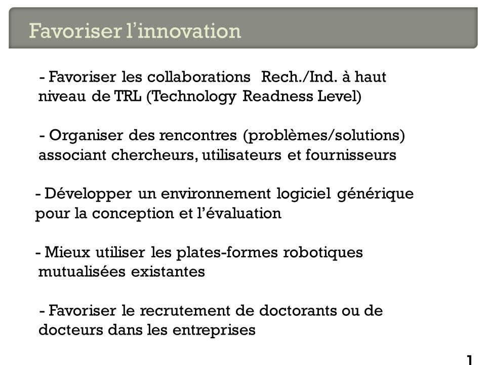Favoriser l'innovation