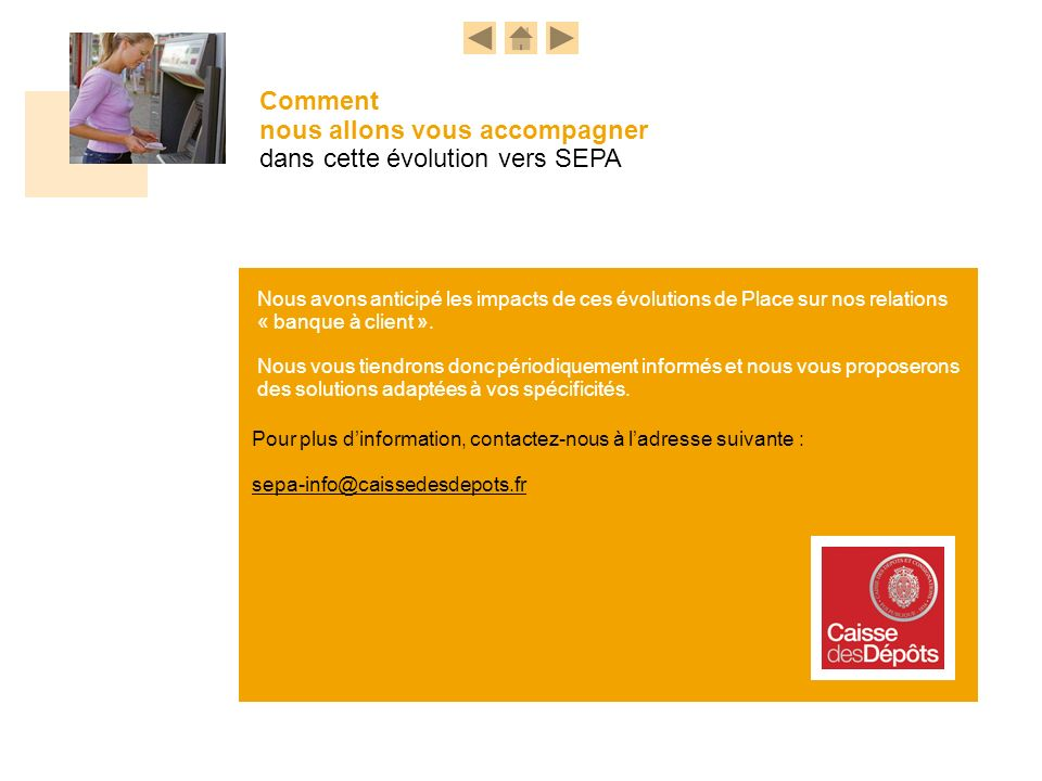 SEPA info Comment nous allons vous accompagner