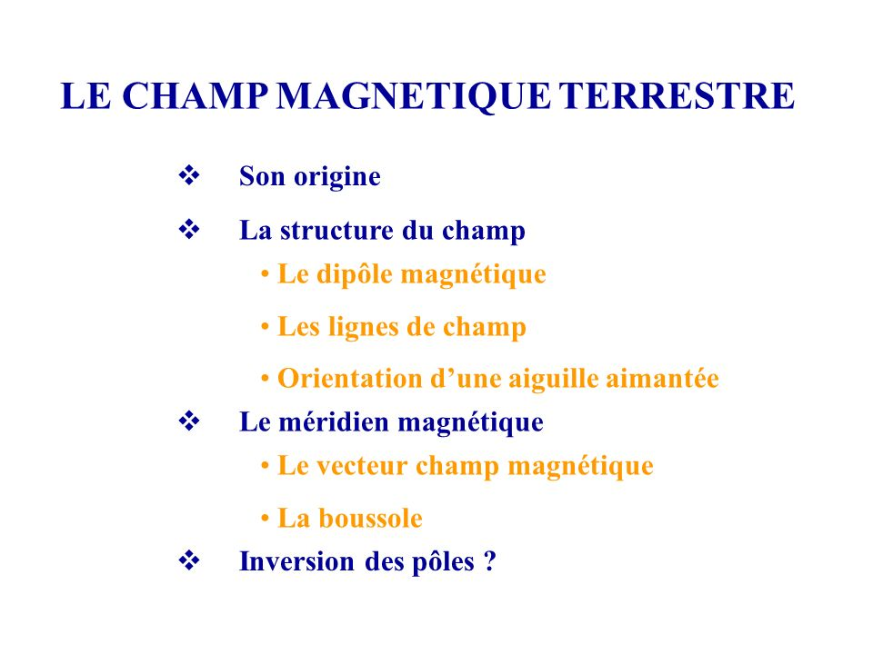 LE CHAMP MAGNETIQUE TERRESTRE