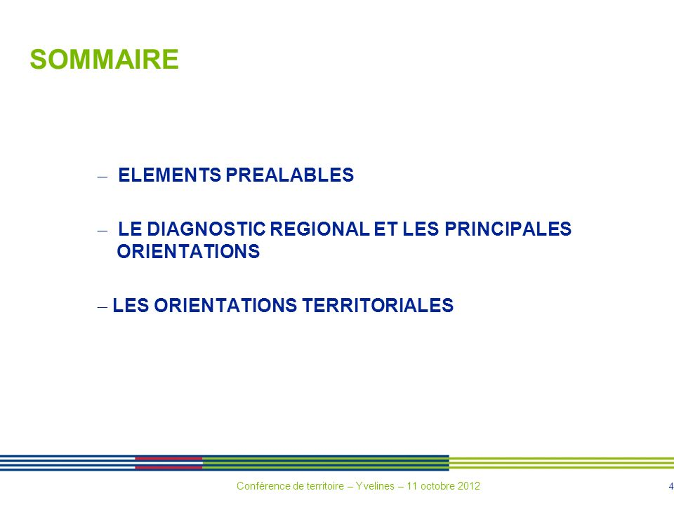 SOMMAIRE  ELEMENTS PREALABLES