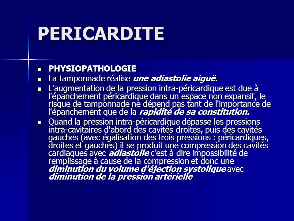 PERICARDITE PHYSIOPATHOLOGIE