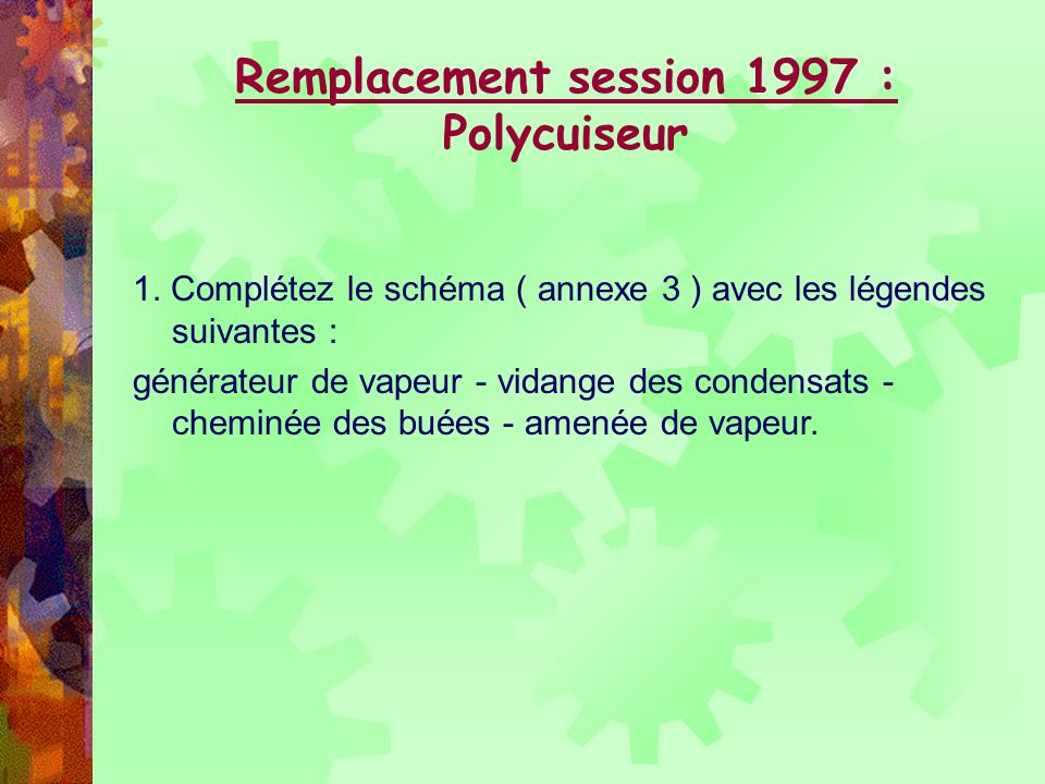 Remplacement session 1997 : Polycuiseur