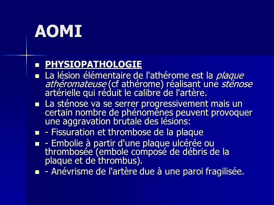 AOMI PHYSIOPATHOLOGIE