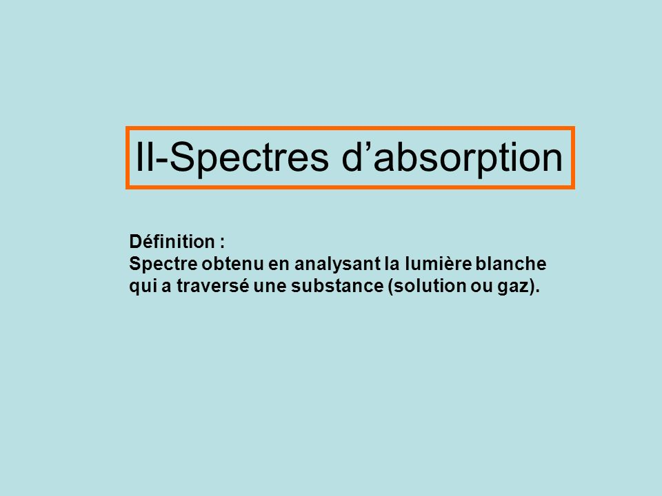 II-Spectres d'absorption