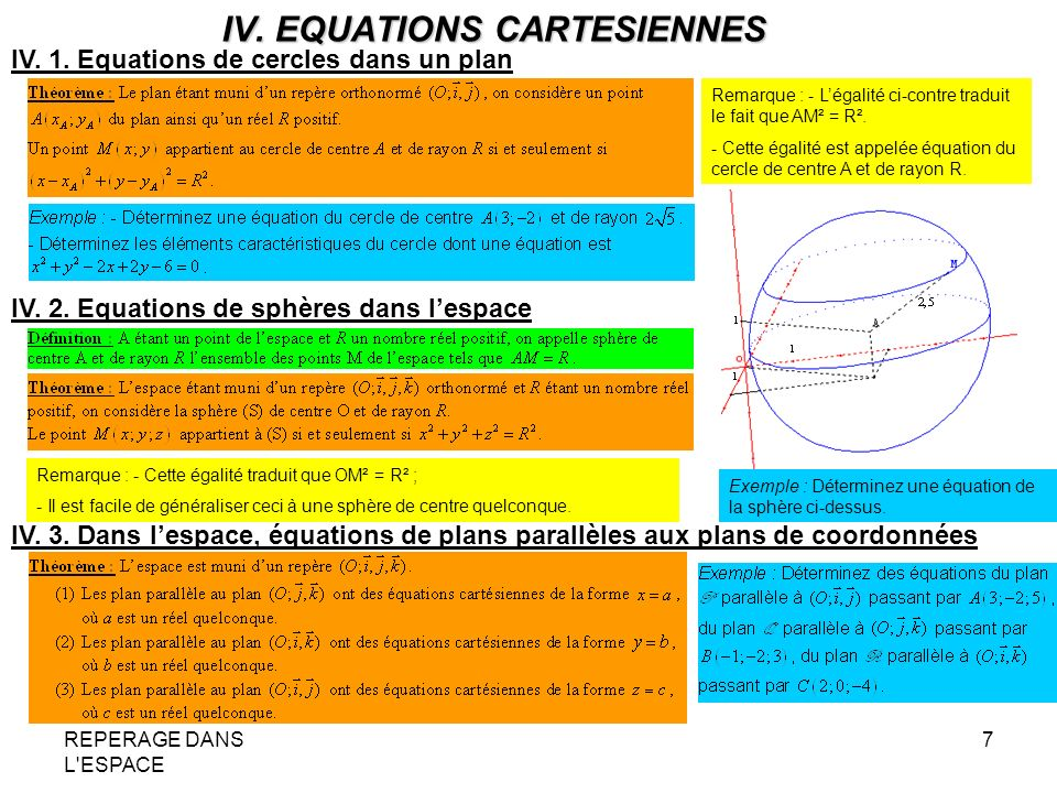 IV. EQUATIONS CARTESIENNES