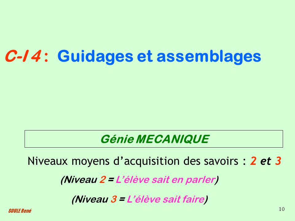 Guidages et assemblages