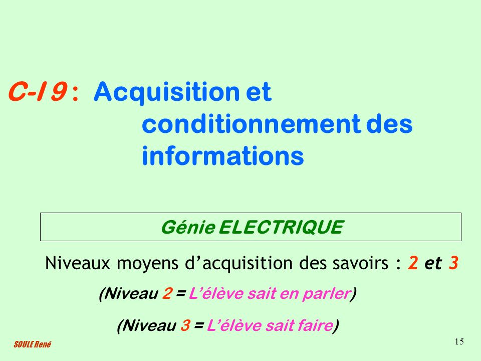 Acquisition et conditionnement des informations