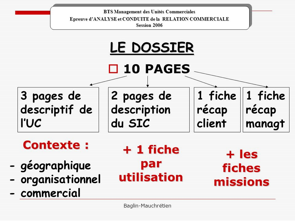 LE DOSSIER 10 PAGES 3 pages de descriptif de l'UC