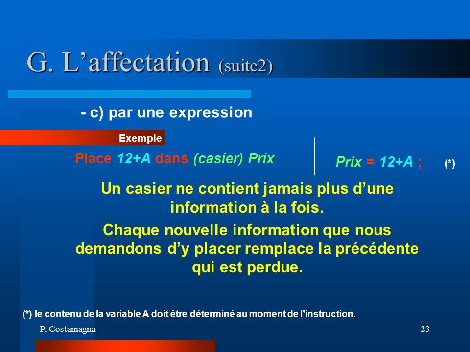 G. L'affectation (suite2)