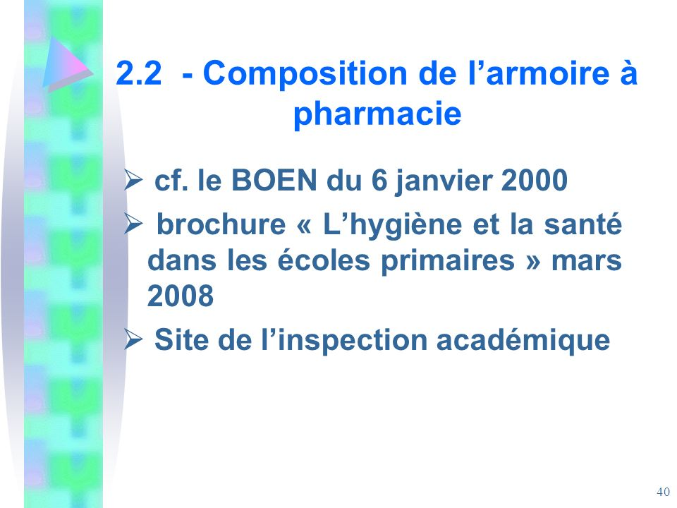 2.2 - Composition de l'armoire à pharmacie