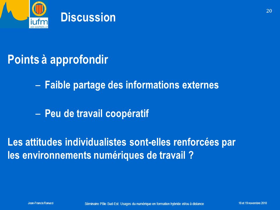 Discussion Points à approfondir