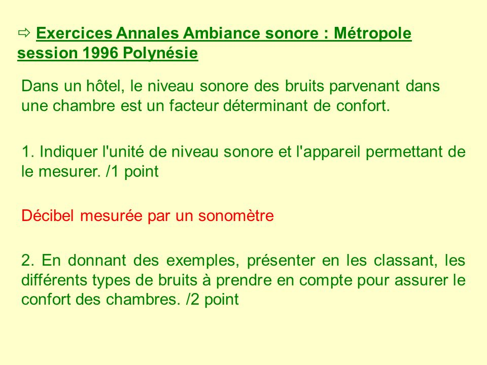  Exercices Annales Ambiance sonore : Métropole session 1996 Polynésie