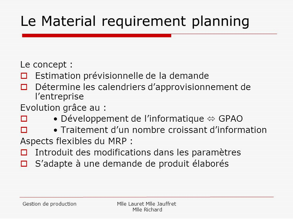 Le Material requirement planning