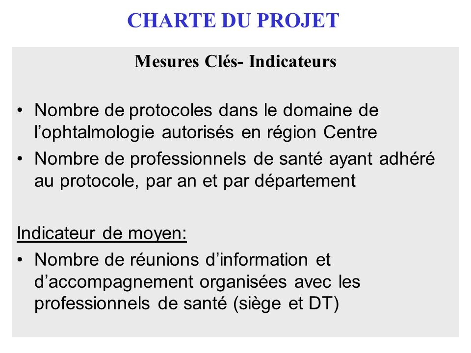 Mesures Clés- Indicateurs