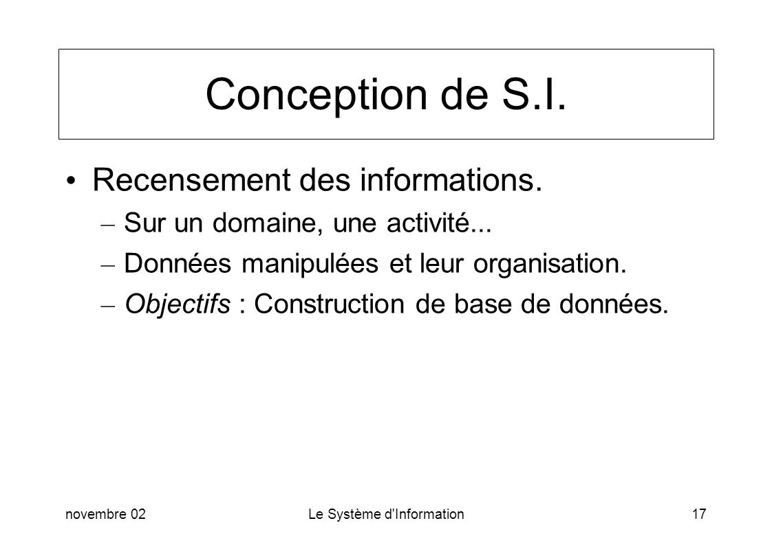 Conception de S.I. Recensement des informations.