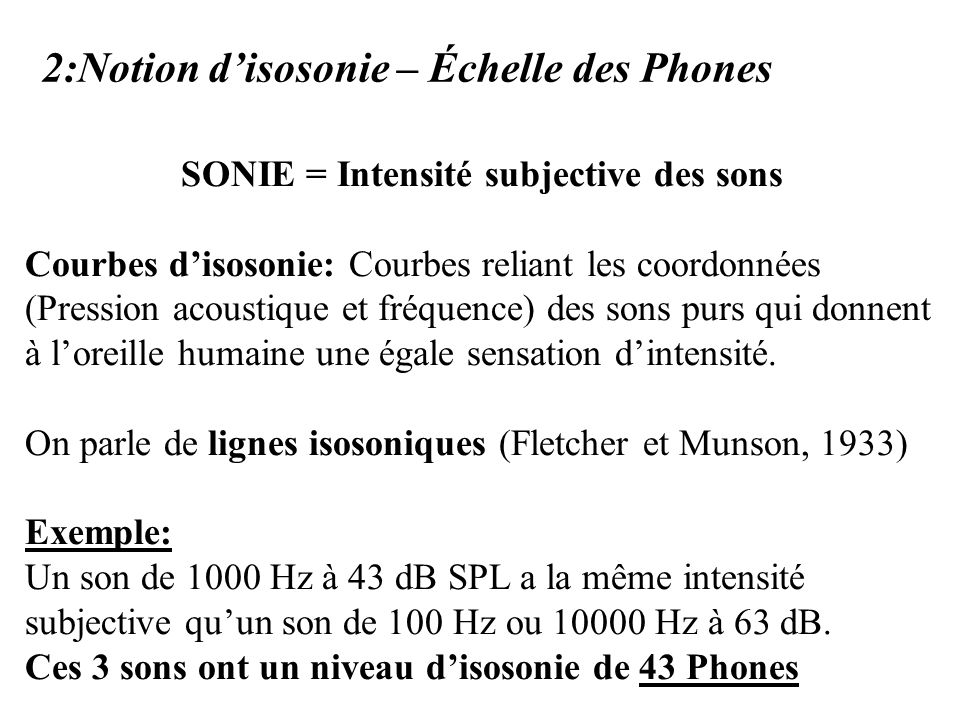 SONIE = Intensité subjective des sons