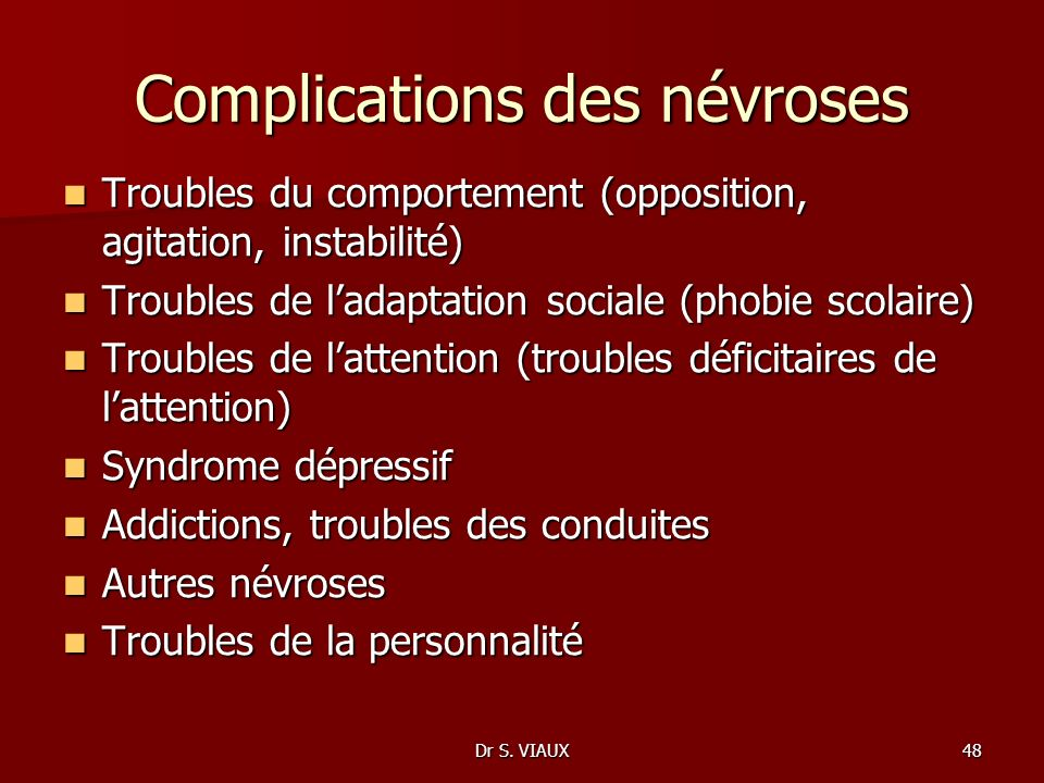Complications des névroses