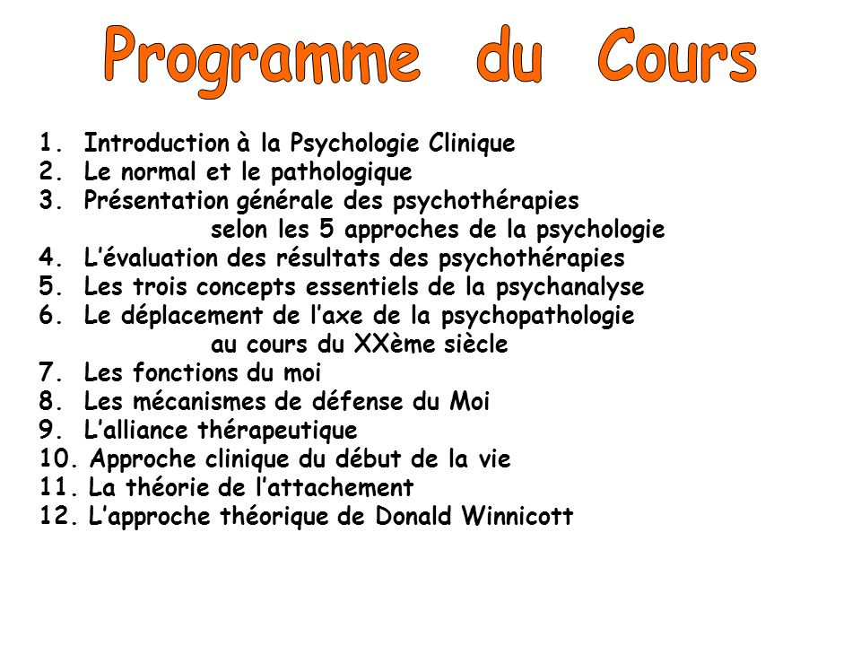 Programme du Cours 1. Introduction à la Psychologie Clinique