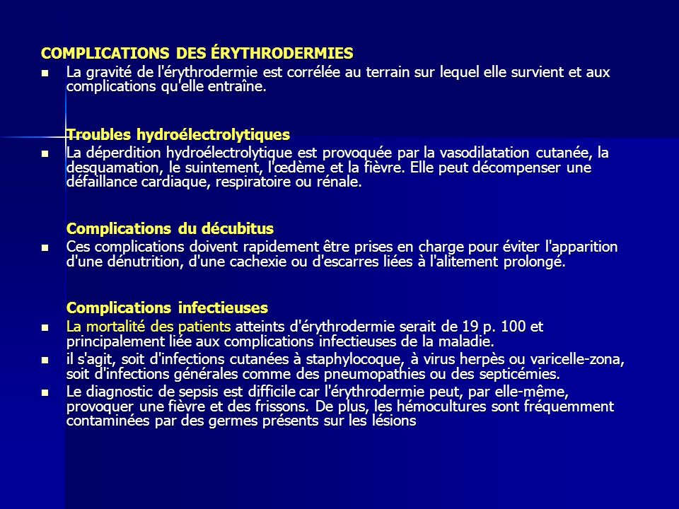 COMPLICATIONS DES ÉRYTHRODERMIES