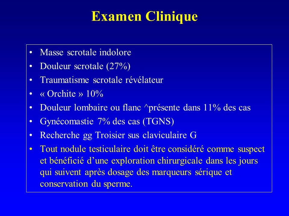 Examen Clinique Masse scrotale indolore Douleur scrotale (27%)