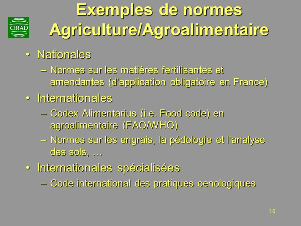 Exemples de normes Agriculture/Agroalimentaire