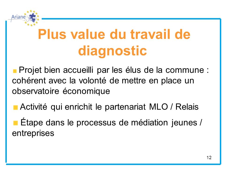 Plus value du travail de diagnostic