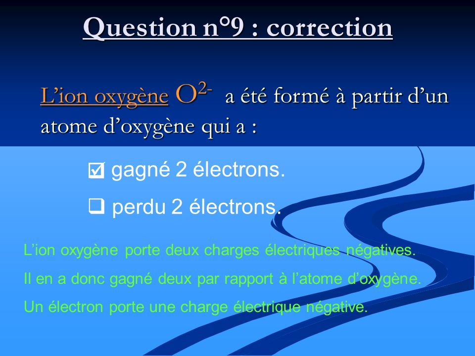 Question n°9 : correction