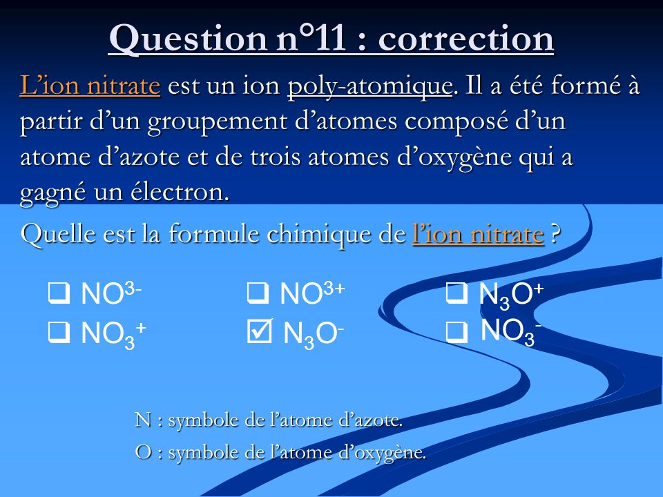 Question n°11 : correction