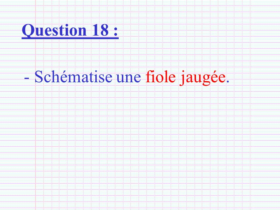 Question 18 : Schématise une fiole jaugée.