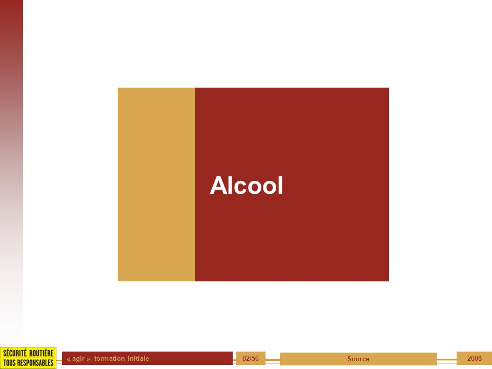 Alcool « agir » formation initiale 02/56 Source 2008