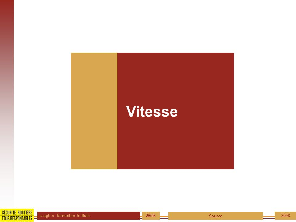 Vitesse « agir » formation initiale 26/56 Source 2008