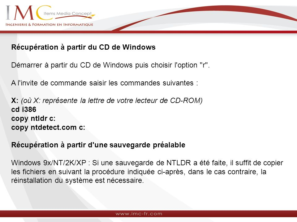 les fichiers ntldr boot ini et ntdetect com