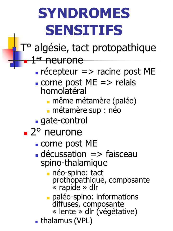 SYNDROMES SENSITIFS T° algésie, tact protopathique 1er neurone