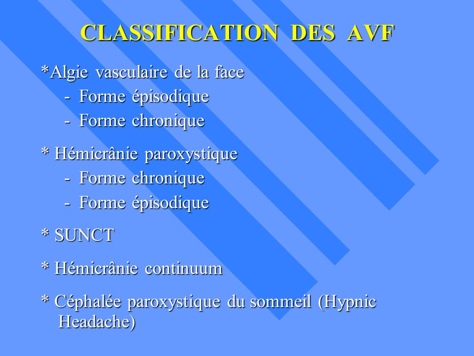 CLASSIFICATION DES AVF