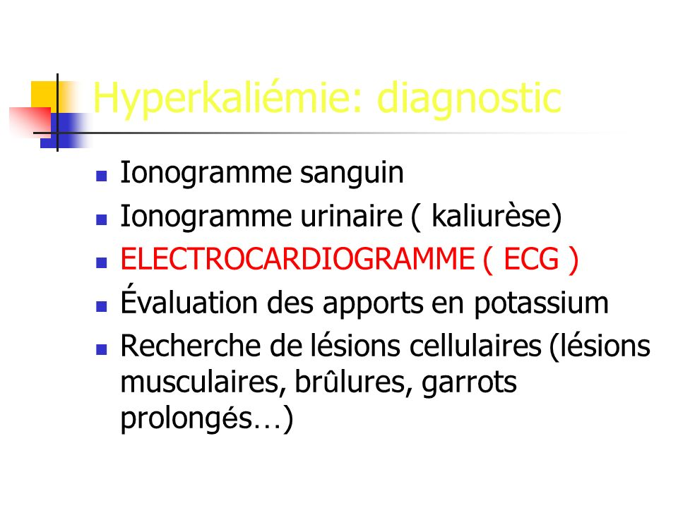 Hyperkaliémie: diagnostic