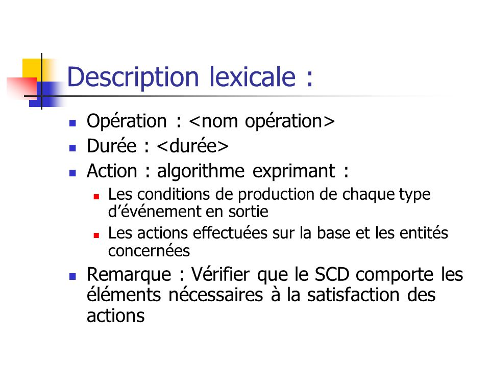Description lexicale :