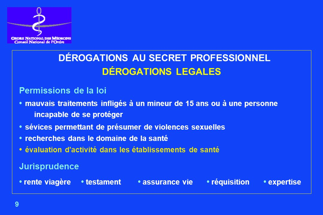 DÉROGATIONS AU SECRET PROFESSIONNEL