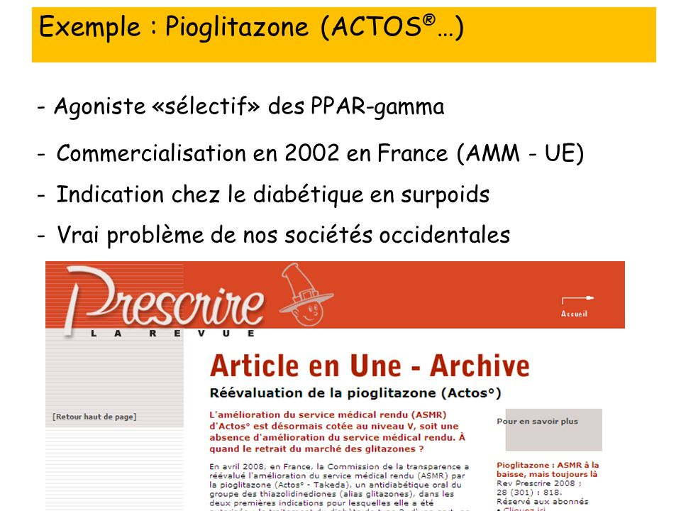 Exemple : Pioglitazone (ACTOS®…)