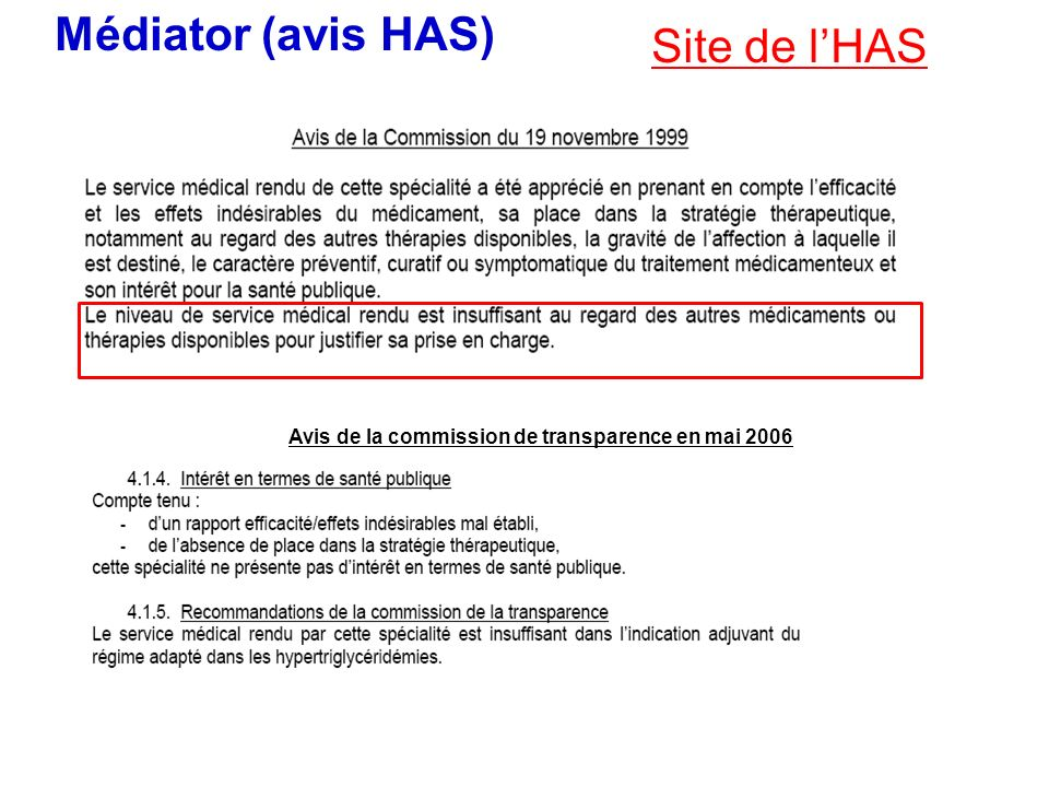 Médiator (avis HAS) Site de l'HAS
