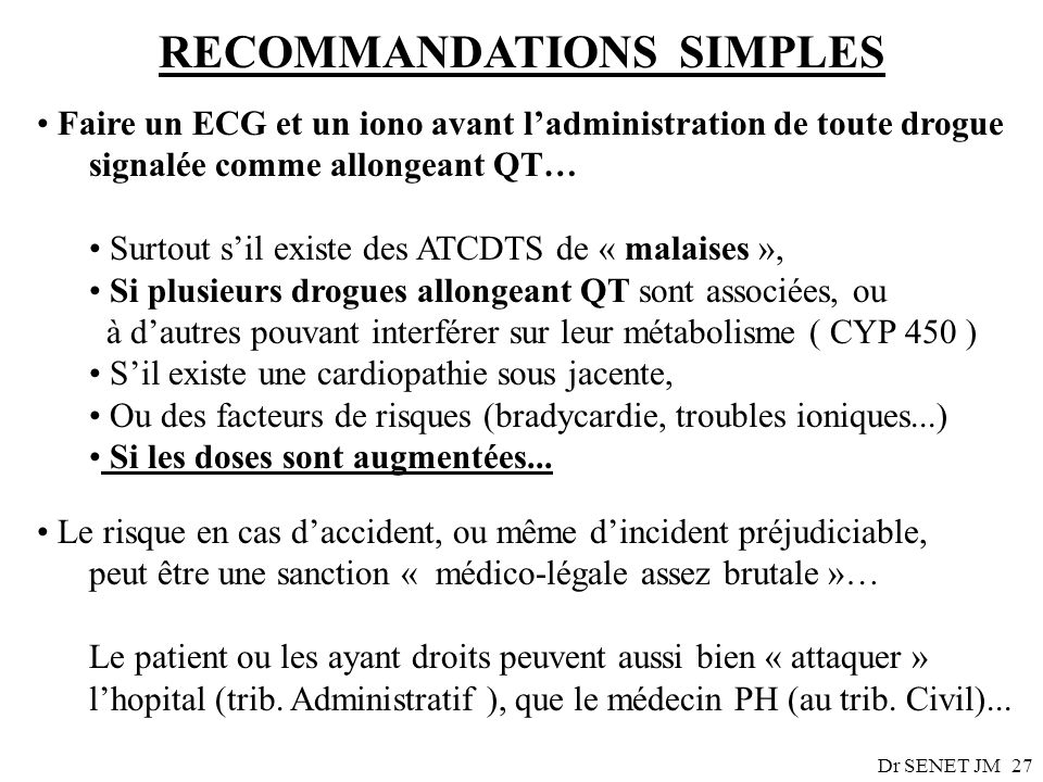 RECOMMANDATIONS SIMPLES