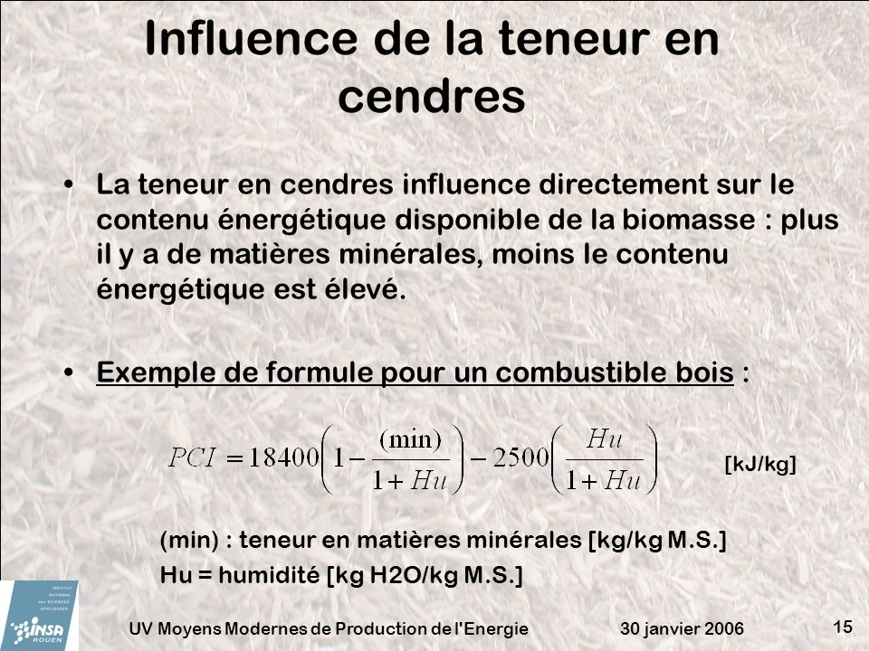 Influence de la teneur en cendres
