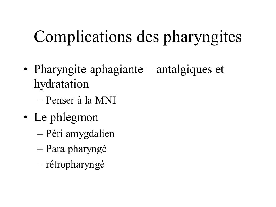 Complications des pharyngites