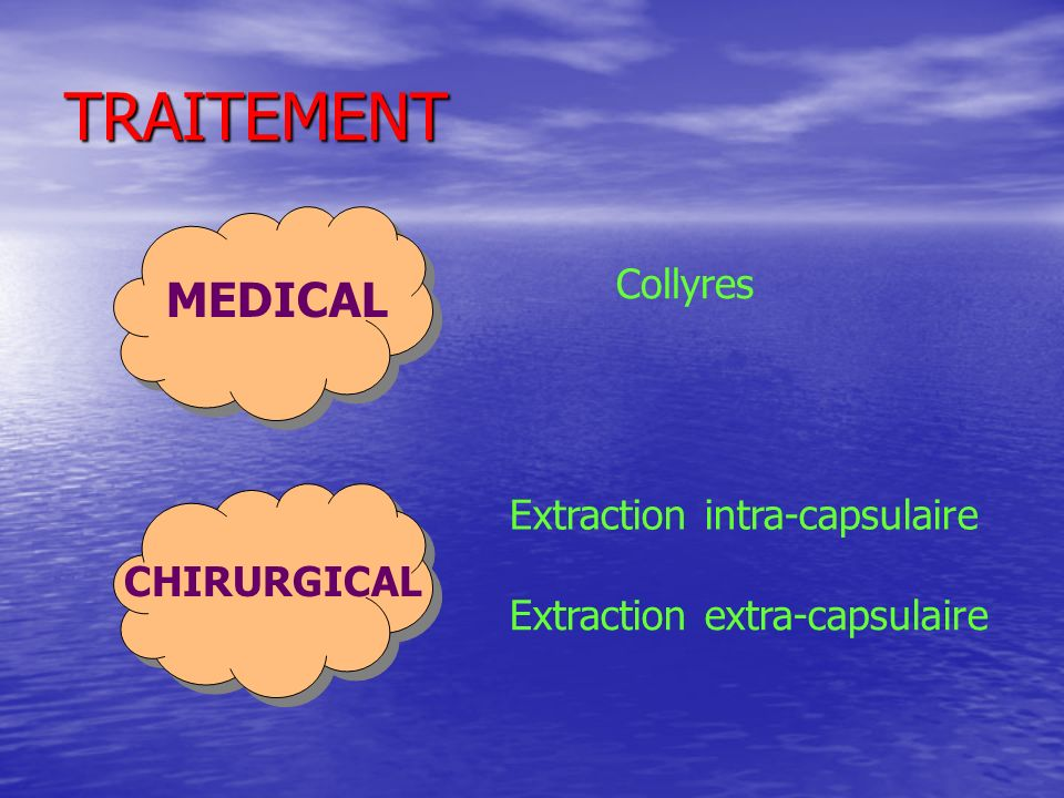 TRAITEMENT MEDICAL Collyres Extraction intra-capsulaire CHIRURGICAL