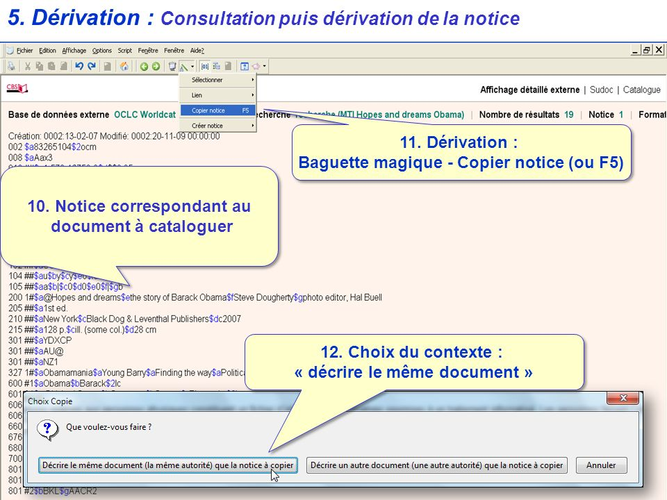 5. Dérivation : Consultation puis dérivation de la notice