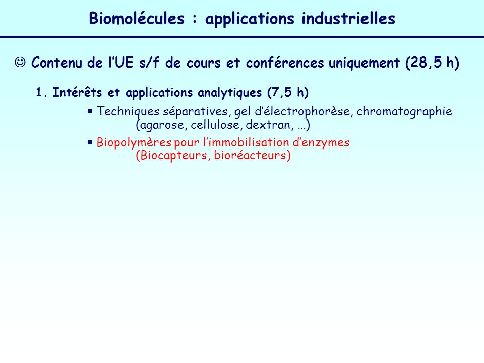 Biomolécules : applications industrielles