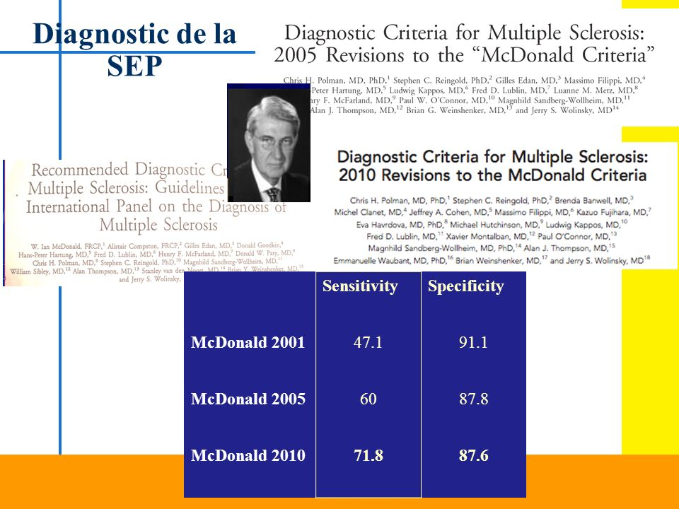Diagnostic de la SEP Sensitivity Specificity McDonald 2001 47.1 91.1