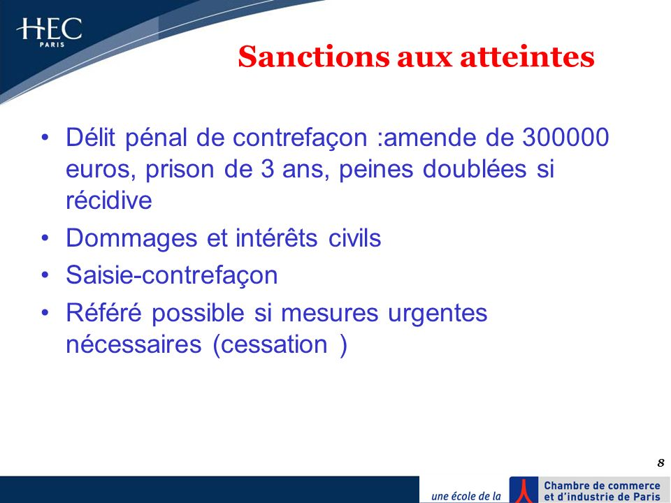 Sanctions aux atteintes