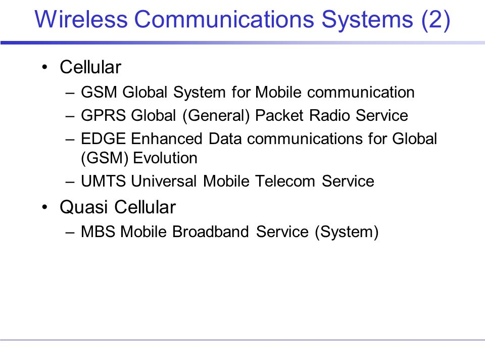 Wireless Communications Systems (2)