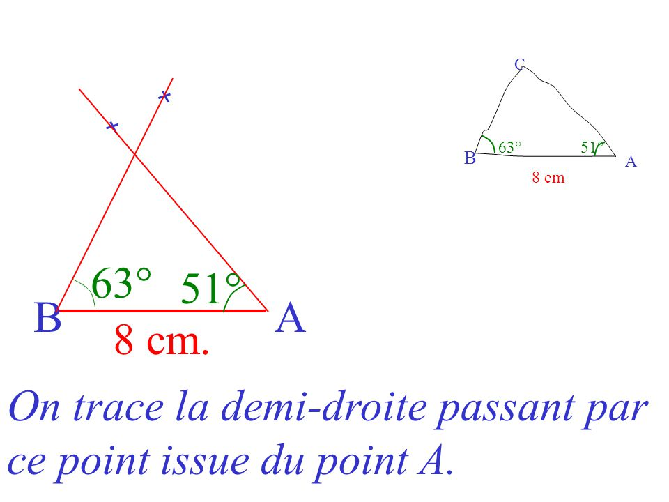 On trace la demi-droite passant par ce point issue du point A.